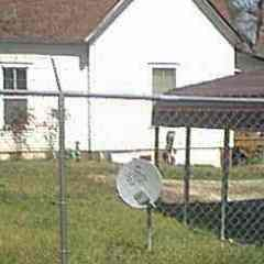 Satellite Dish mounted in yard of House
